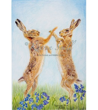 Spring Hares, 8x6 Limited Edition Giclee Print (Mounted)