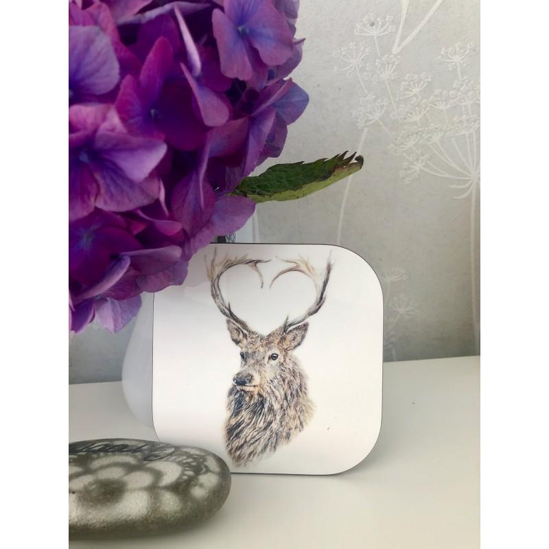 'Valentine' stag coaster
