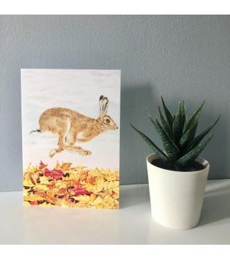 'Autumn Hare' blank greetings card