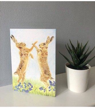 'Spring Hares' Greetings Card
