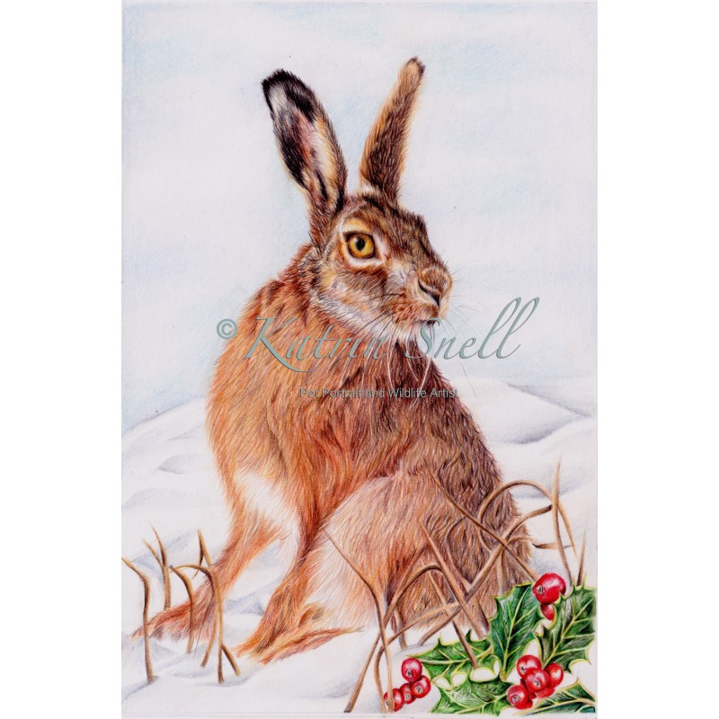 'Winter Hare' 8x6 Print