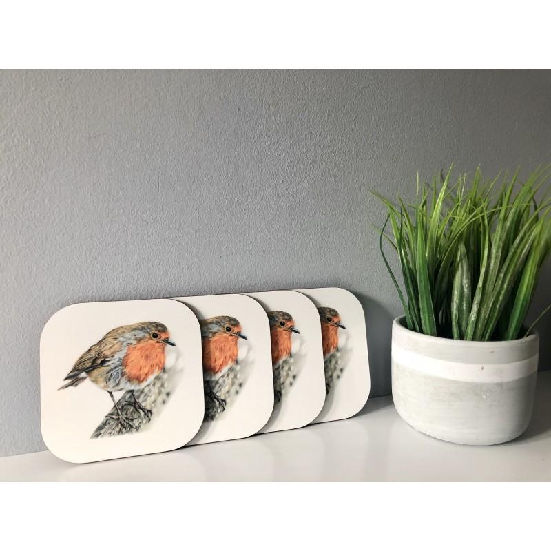 Pack of 4 'Rockin Robin' Melamine Coasters