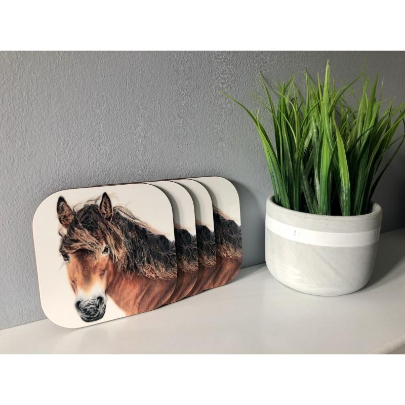 Pack of 4 'Breeze' Exmoor Pony Melamine Coasters