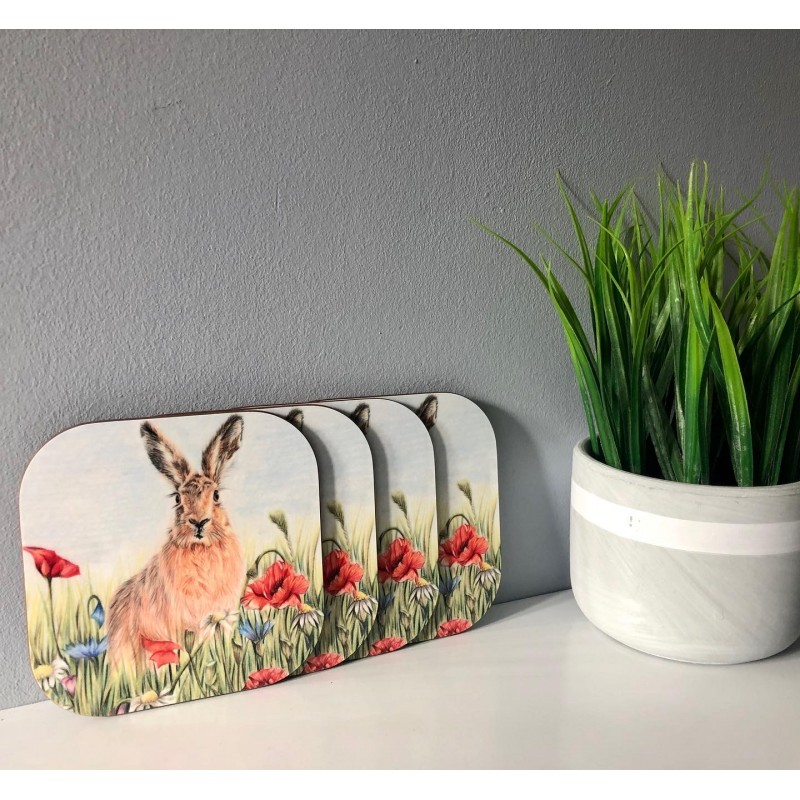 Pack of 4 'Summer Hare' Melamine Coasters