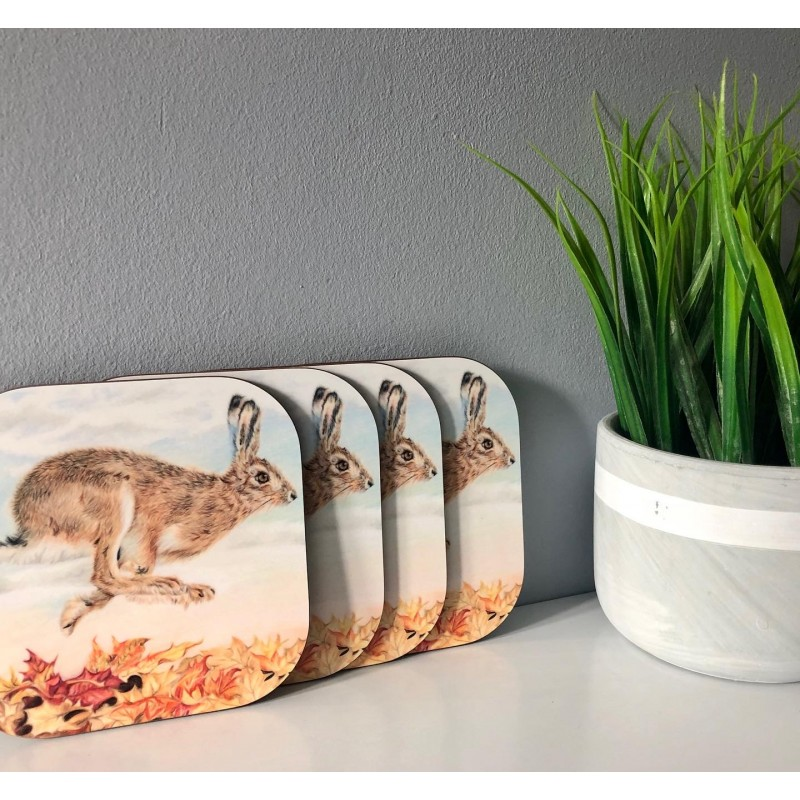 Pack of 4 'Autumn Hare' Melamine Coasters
