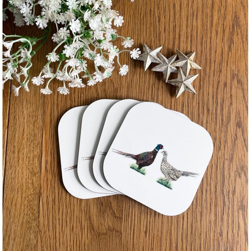 'Pheasant love' melamine coaster