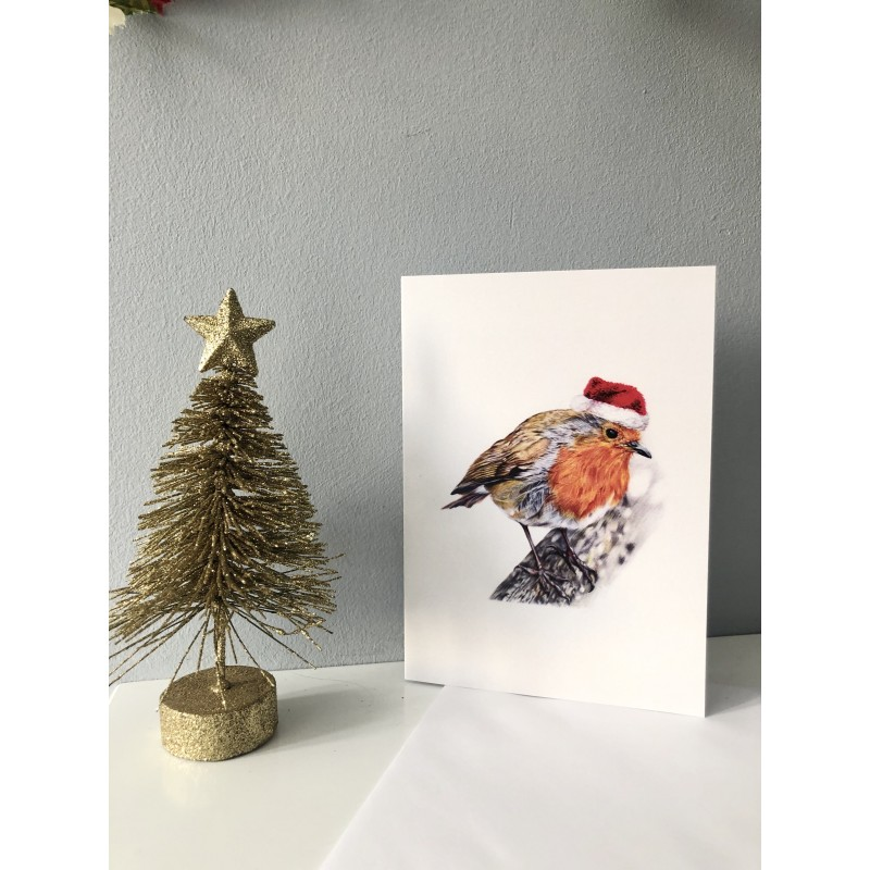 Christmas Card (Rockin Robin with Santa hat)