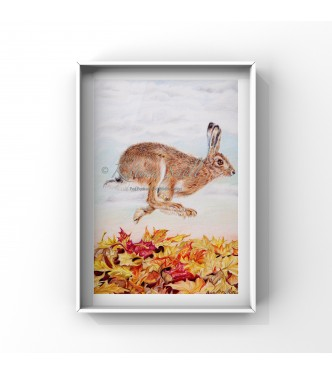 Autumn Hare, 8x6 Limited Edition Giclee Print (Mounted)