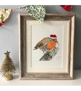 Rockin Robin in Christmas Hat, 8x6 hand finished Giclee print