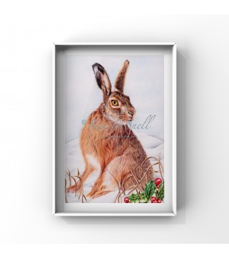 Winter Hare, 8x6 Limited Edition Giclee Print (Mounted)