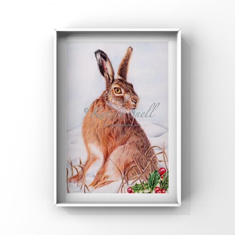 'Winter Hare' 8x6 Print